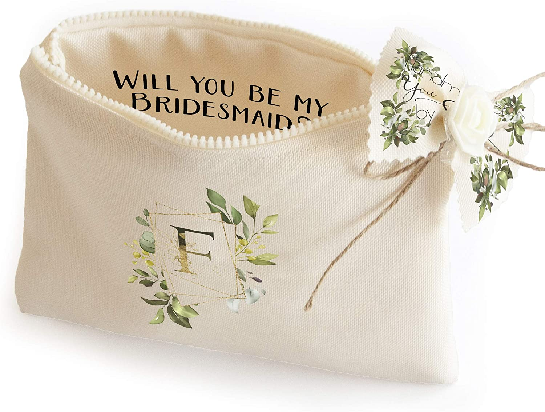 Personalized Bridesmaid Proposal Gift Bags - Monogram Makeup Case
