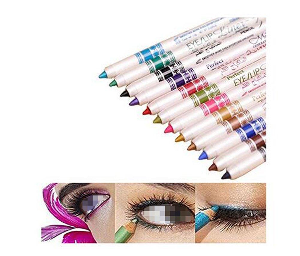 Pack of 12 Multi-Colored Eyebrow Pencil Eyeliner Eyebrow Lip Liner Pencil Pen Makeup Cosmetic Set Kit Tool For Women Girls Makeup
