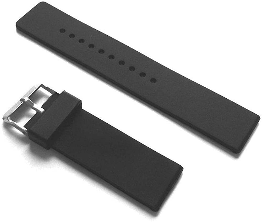 18MM Black Rubber Smooth Sport Watch Band FITS Expedition and Divers Watch