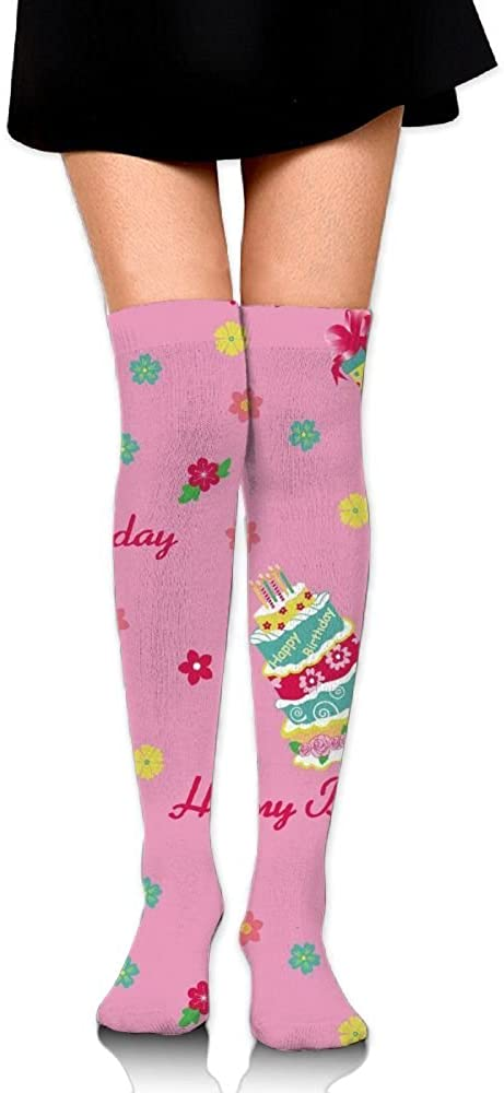 Yongchuang Feng Unisex Tube Stockings Birthday-cakes Over The Knee Unisex Knee High Long Socks Length 65cm