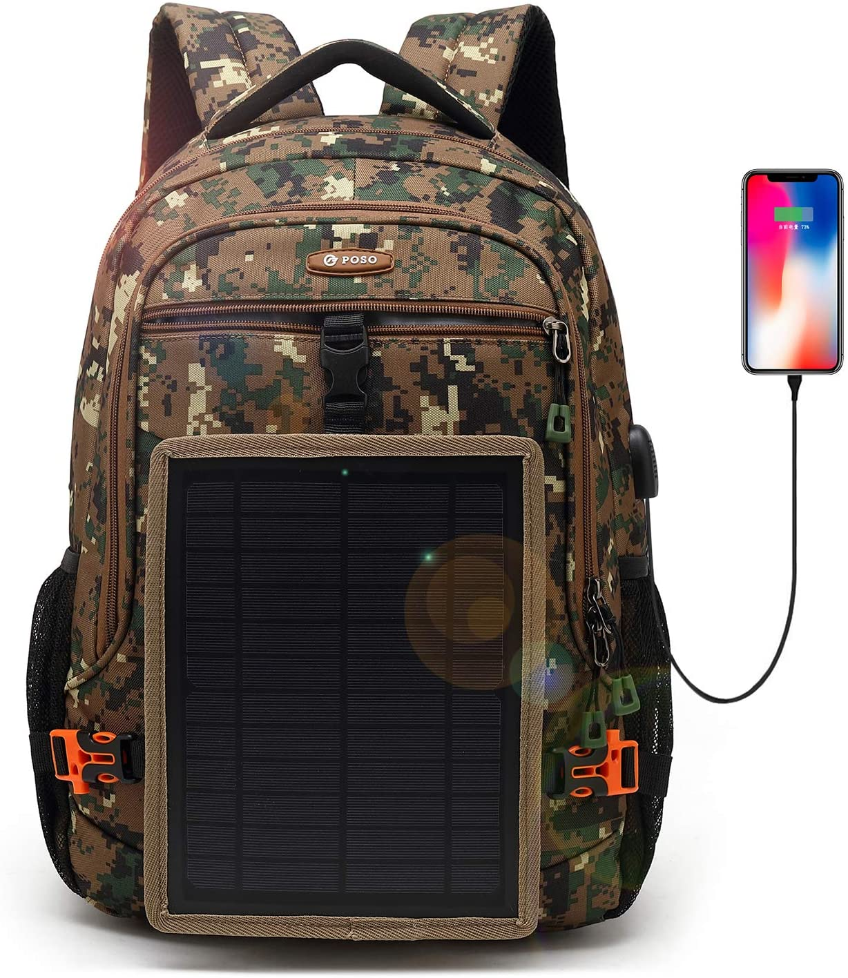 DTBG Solar Backpack 15.6 Inch Laptop Backpack for iPad Women-Army Green