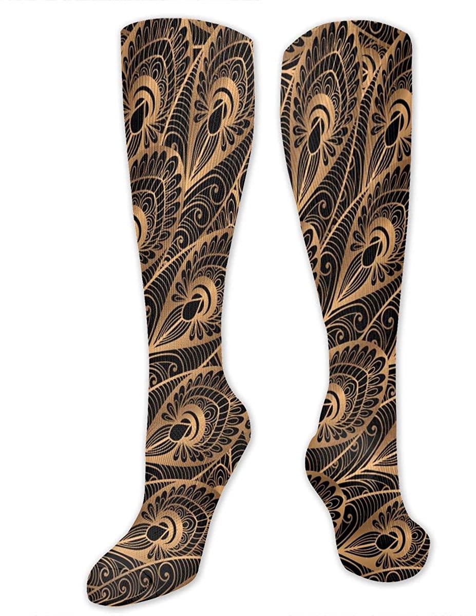 Luxury Gold Black Peacock Athletic Socks Thigh Stockings Over Knee Leg High Socks