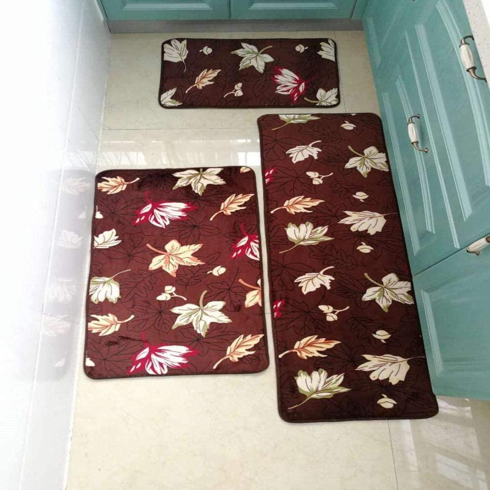 weizhang Thicken Bath Mat Bathroom Mats Carpets Set Stone Print Bathroom Floor Rug Doormat for Shower Room Anti-Slip Toilet Rugs 3 Sizes Leaf