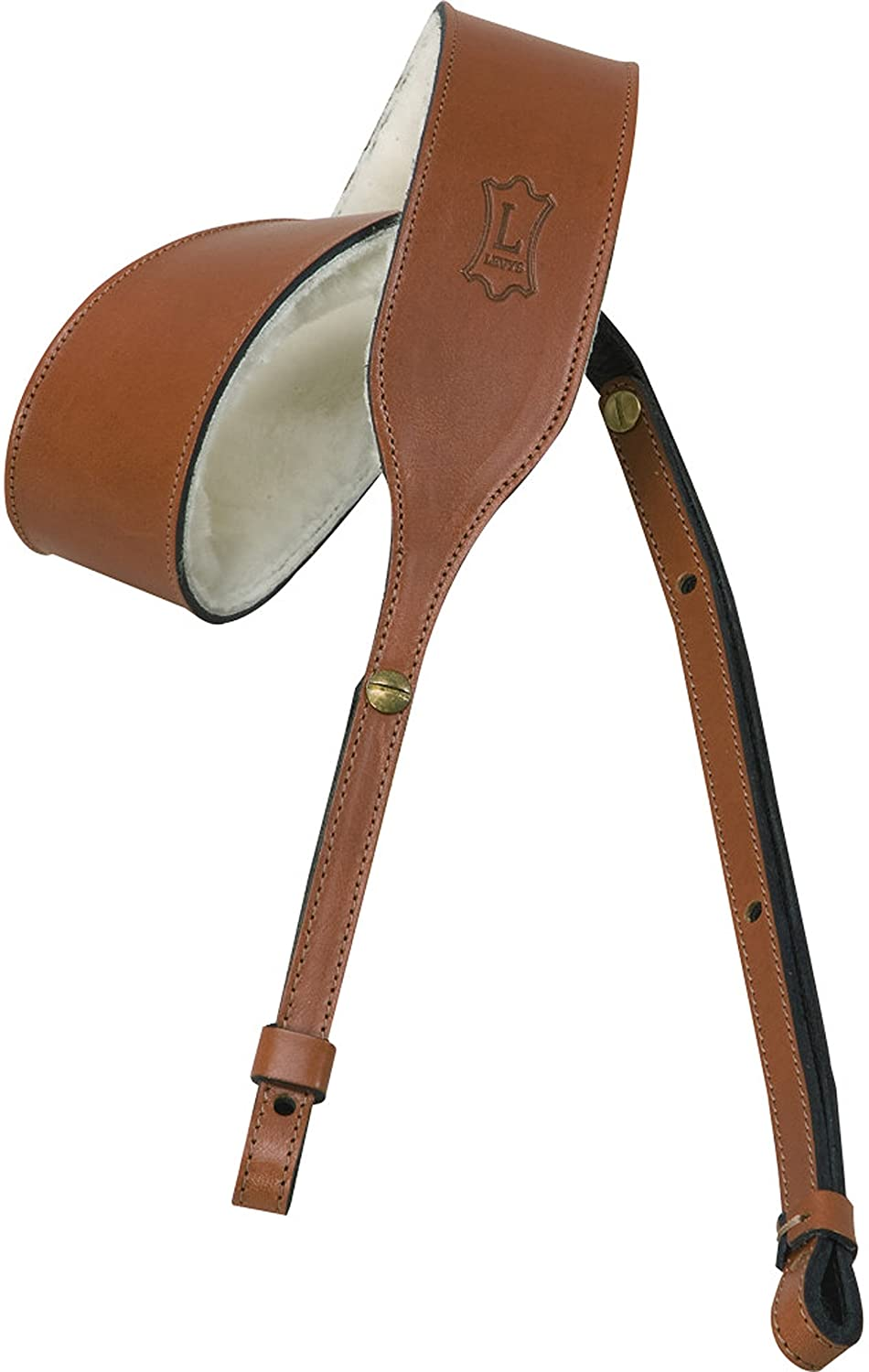 Levy's Leathers PMB32-WAL Veg-Tan Leather Banjo Strap with Sheepskin, Walnut