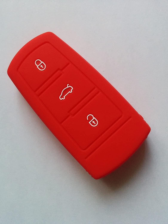 VW Red Silicone Key Cover Remote Flip Key Fob For VW CC Passat B6 B7