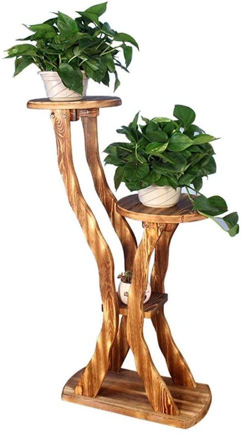 PLLP Corner Shelves,Flower Racks Multi-Purpose Multi-Layer Solid Wood Floor Flower Wooden Solid Wood Bonsai Frame Balcony Living Room Interior (Three Colors) for Indoor and Outdoor,1003