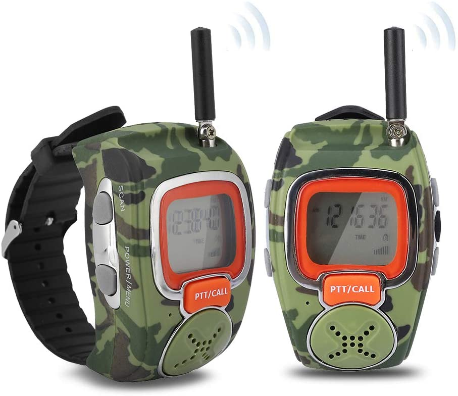 Children Watch Walkie Talkies, 1 Pair Portable Walkie Talkie For Kids Outdoor 1.2 inch LCD Display Anti-Lost Walkie-Talkie, USB Charging Wrist Watch Remote Monitor Smartwatch for Bicycle, Hiking, Camp