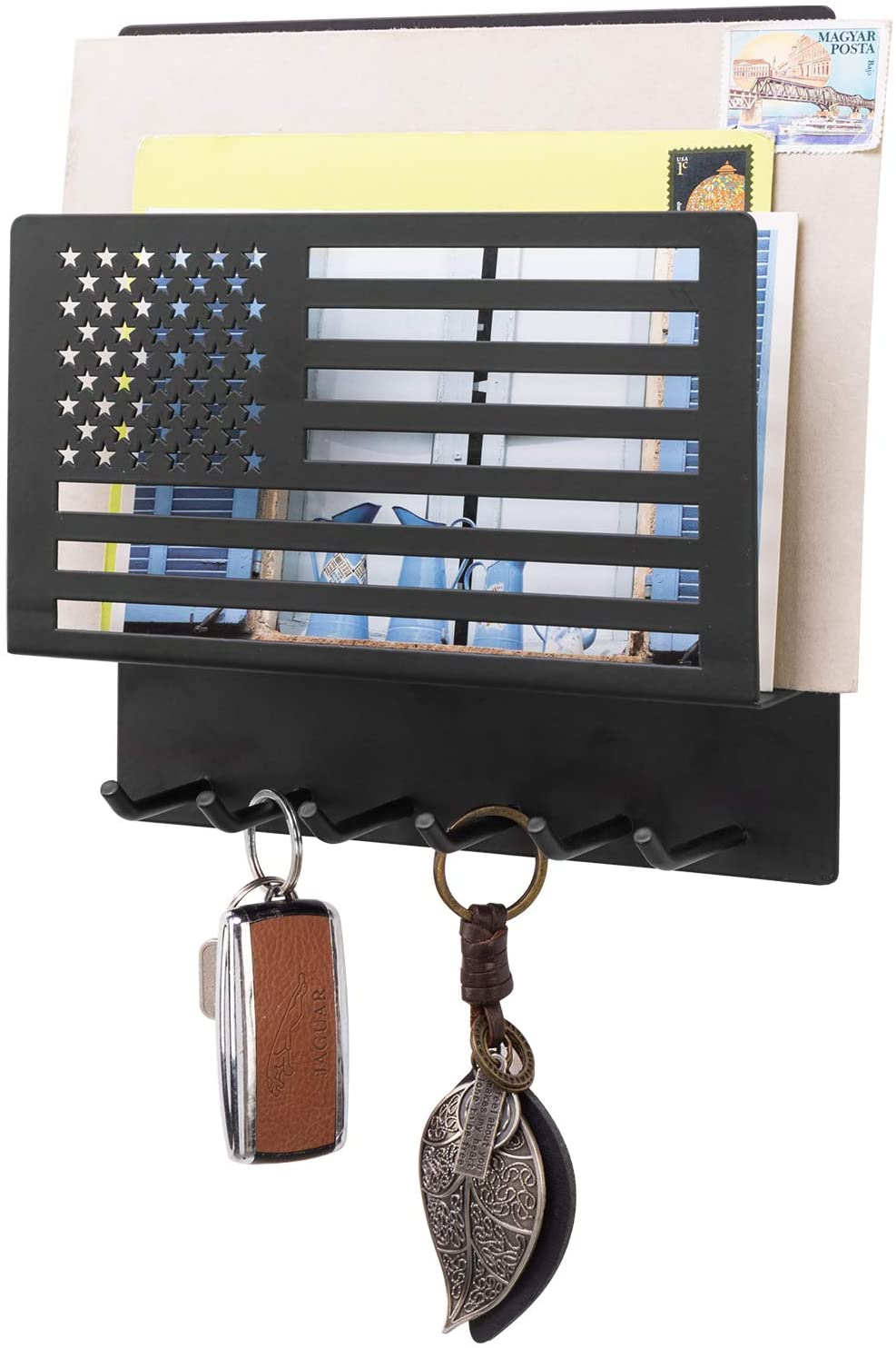 MyGift US American Flag Wall Mounted Black Metal Entryway Mail Sorter with 6 Key Hooks