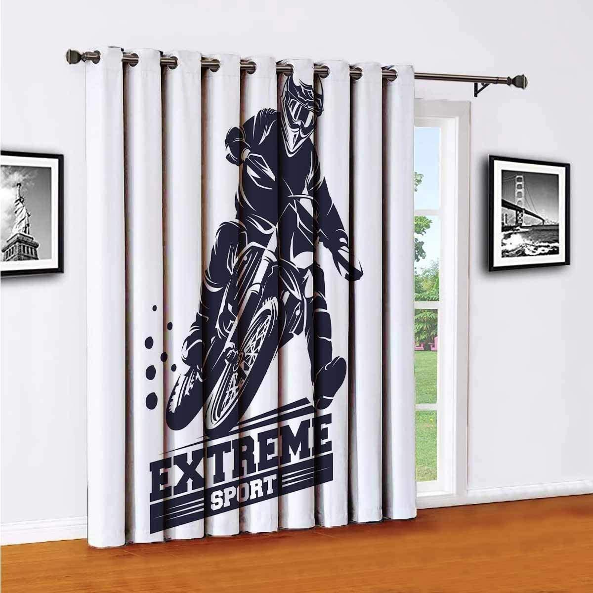 Toopeek Moto Track or Motocross Jump Logo Vector Sliding Door Shades, Patio Curtains, W84 x L96 Inch