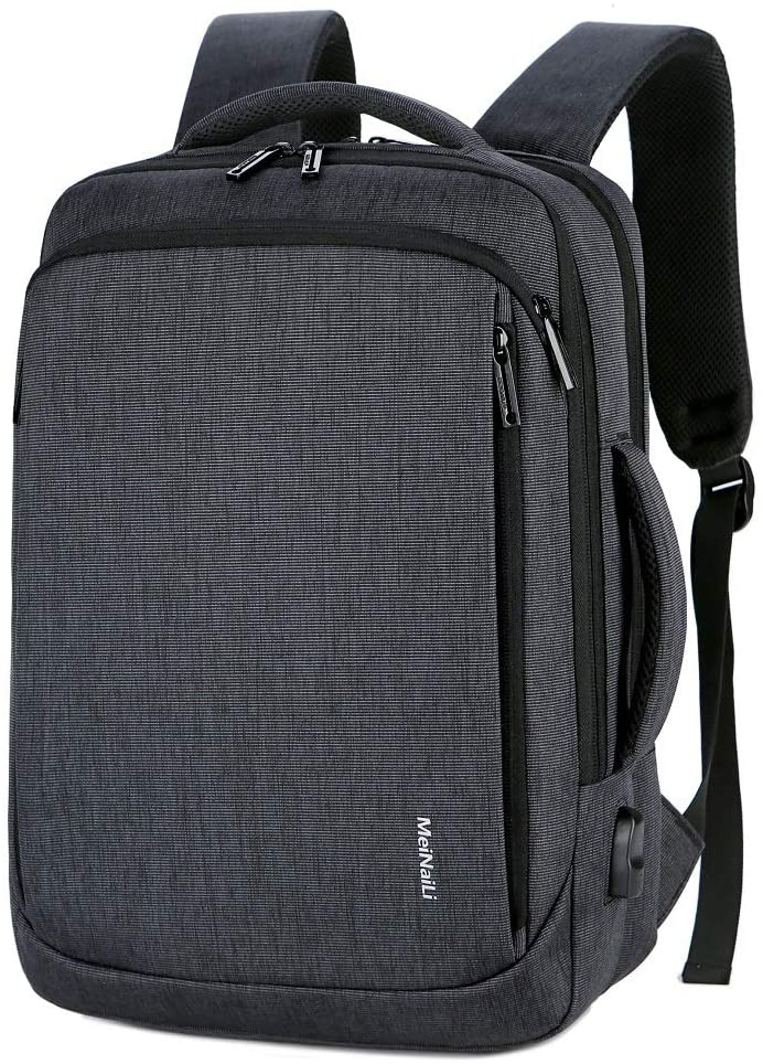 Unisex Convertible Laptop Brifcase Backpack Fits Laptop up to 15.6 Made of Water Resistant Nylon (Black)