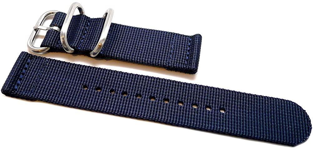 DaLuca Two Piece Ballistic Nylon Watch Strap - Navy : 26mm