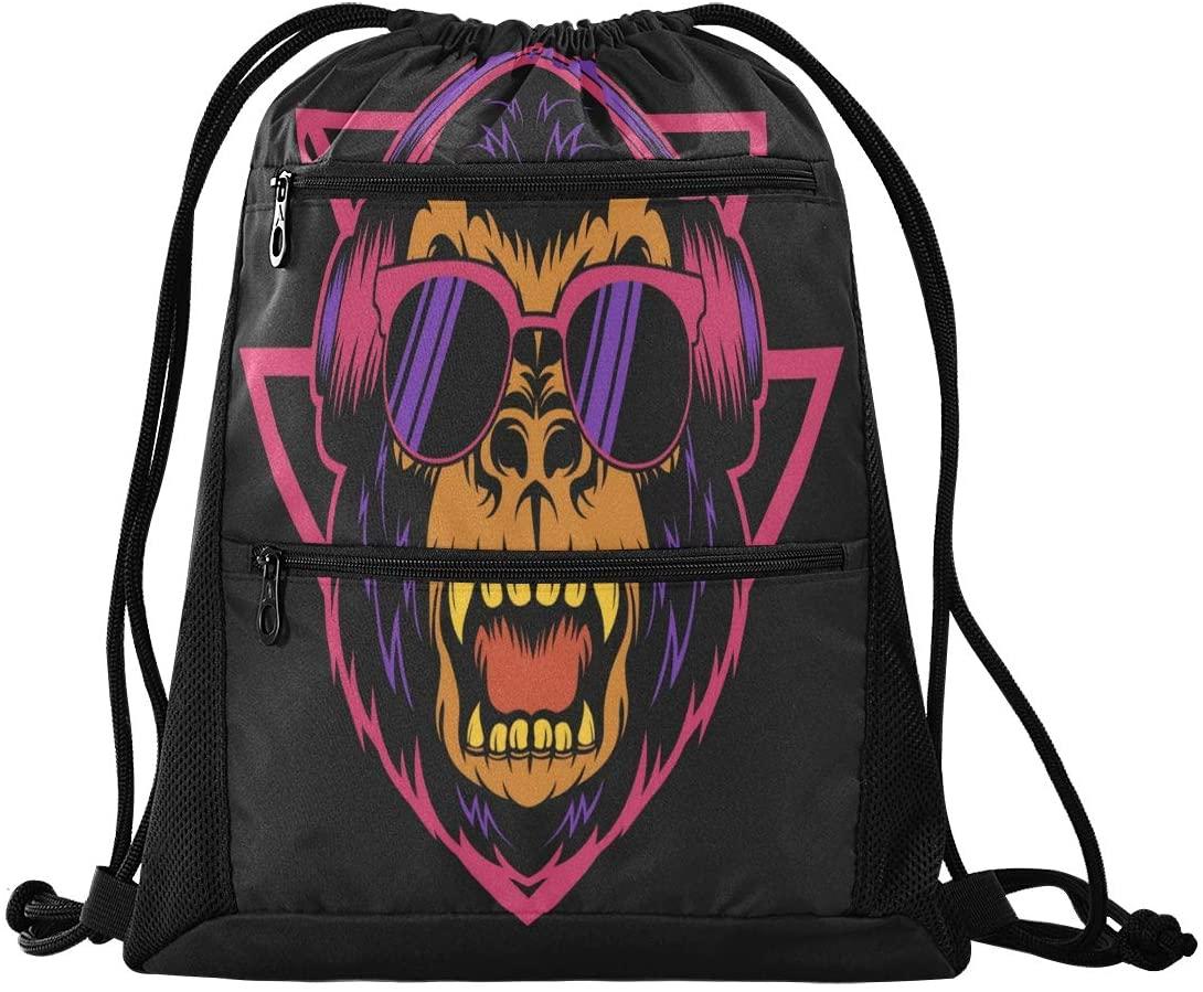 Drawstring Backpack Sport Gym Sackpack - Music Chimp Drawstring Bag with Zipper Pocket Sport Cinch Pack Sport Backpack for Travel Dance