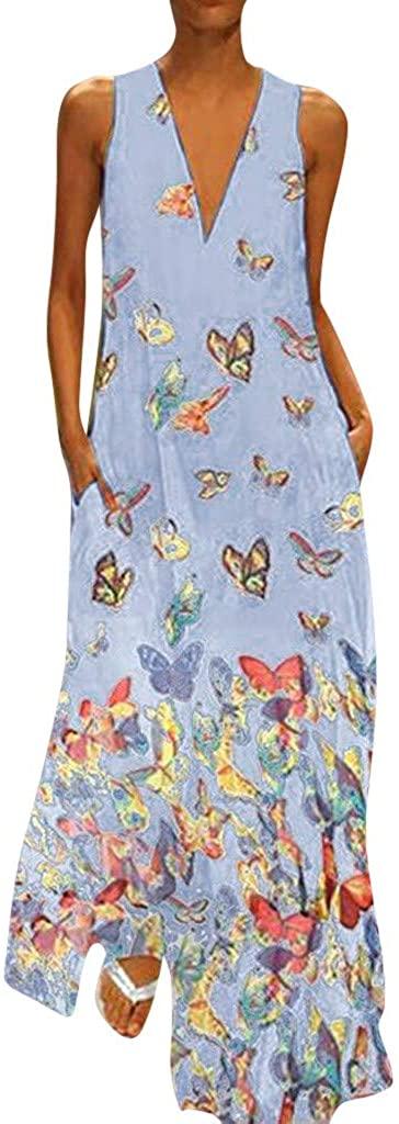 ZEFOTIM ✿ Women Casual Plus Size Short Sleeve Cold Shoulder Boho Flower Print Long Dress(L-5XL)