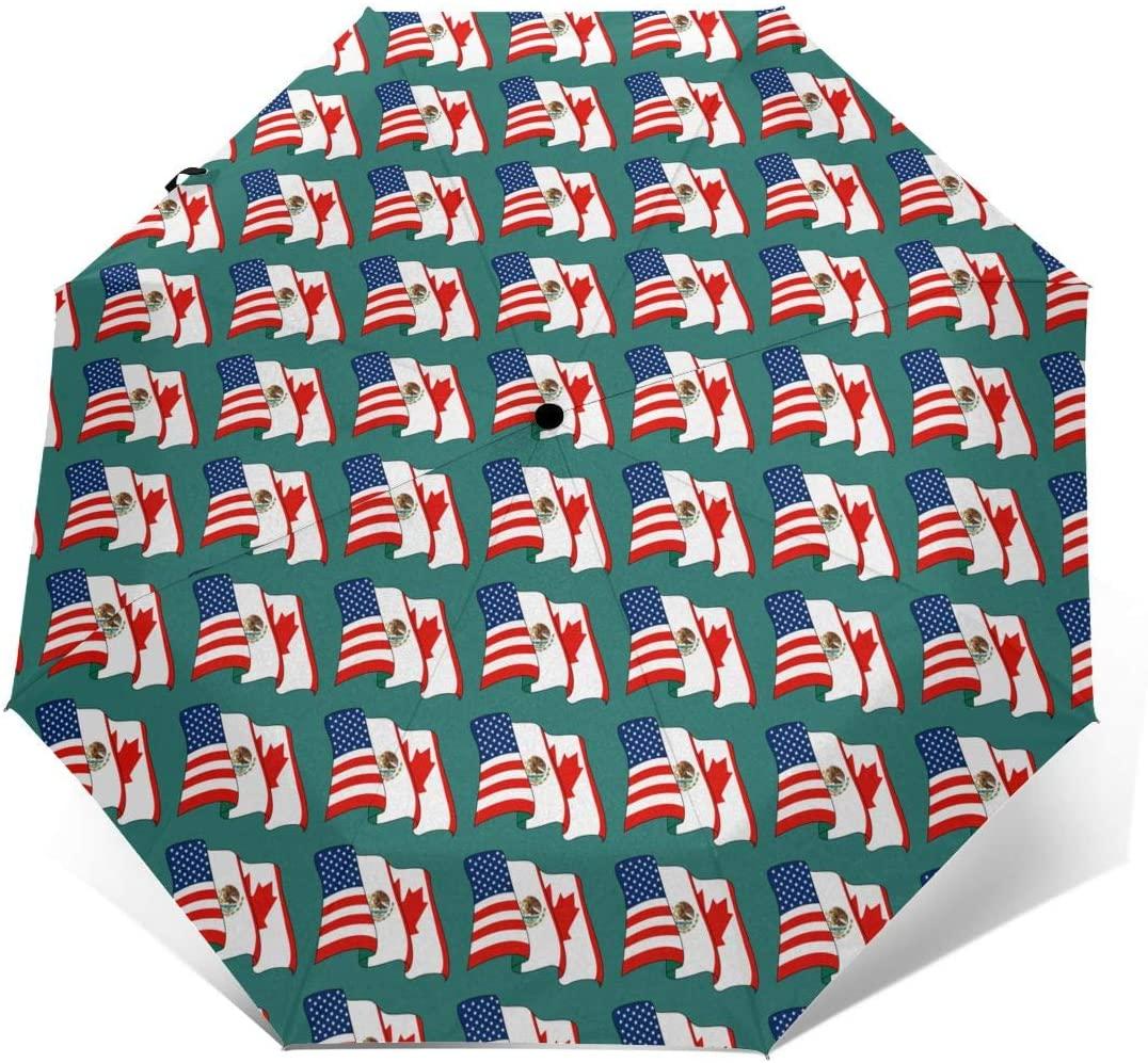 USA Canada Mexico Flag Windproof Automatic Folding Umbrella Tri-fold Umbrella