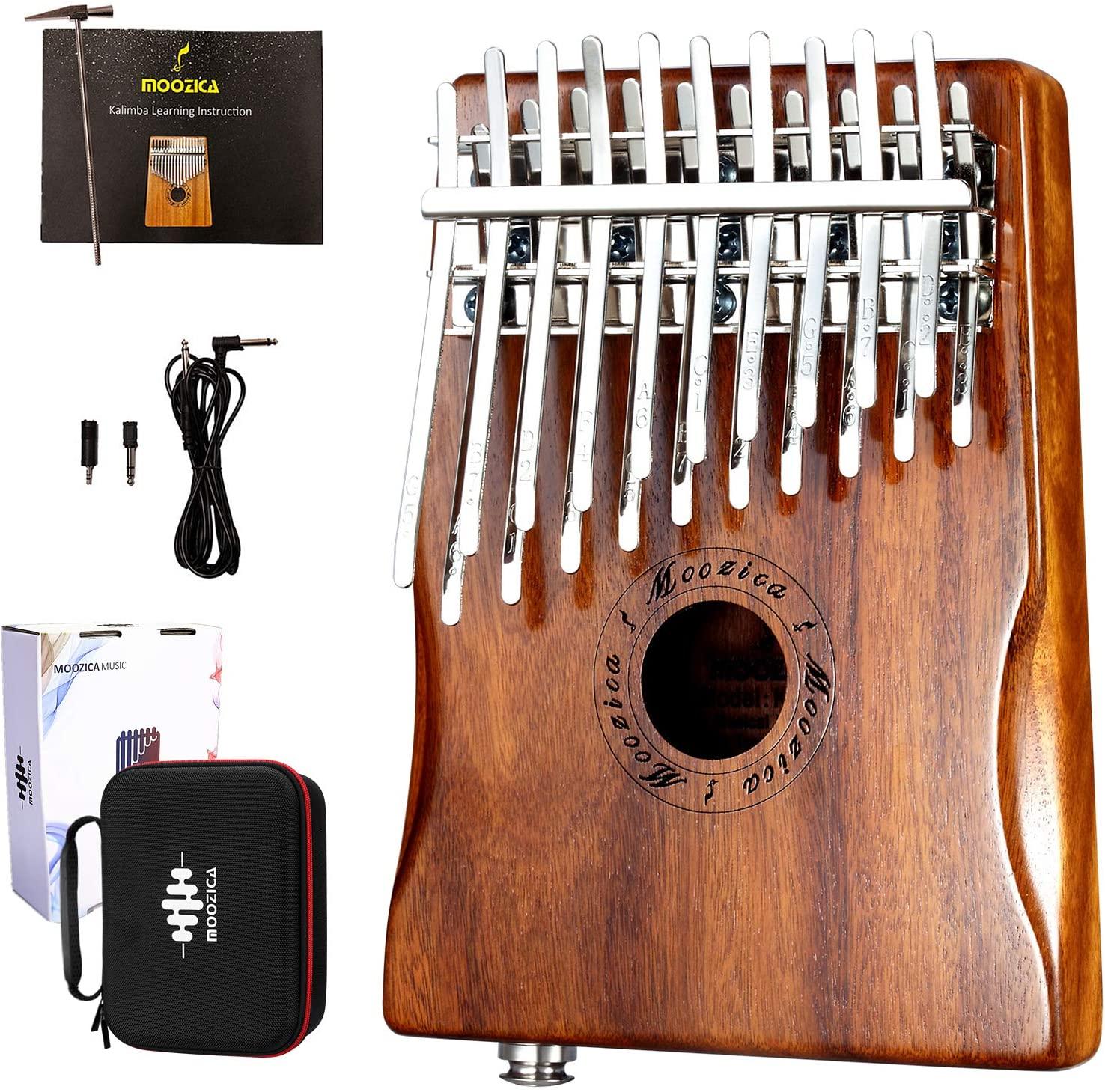 MOOZICA Kalimba Solid Koa Wood 20 Keys Professional Kalimba, Double-layer 20-key Thumb Piano With Kalimba Hardcase and Learning Instruction (K20K-EQ(With Case))