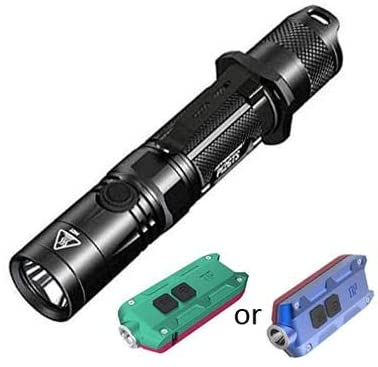 Combo: Nitecore P12GTS Tactical Flashlight - CREE XHP35 HD LED -1800 Lumens w/Tip Winter -360Lm Rechargeable Keychain Light w/Color Options