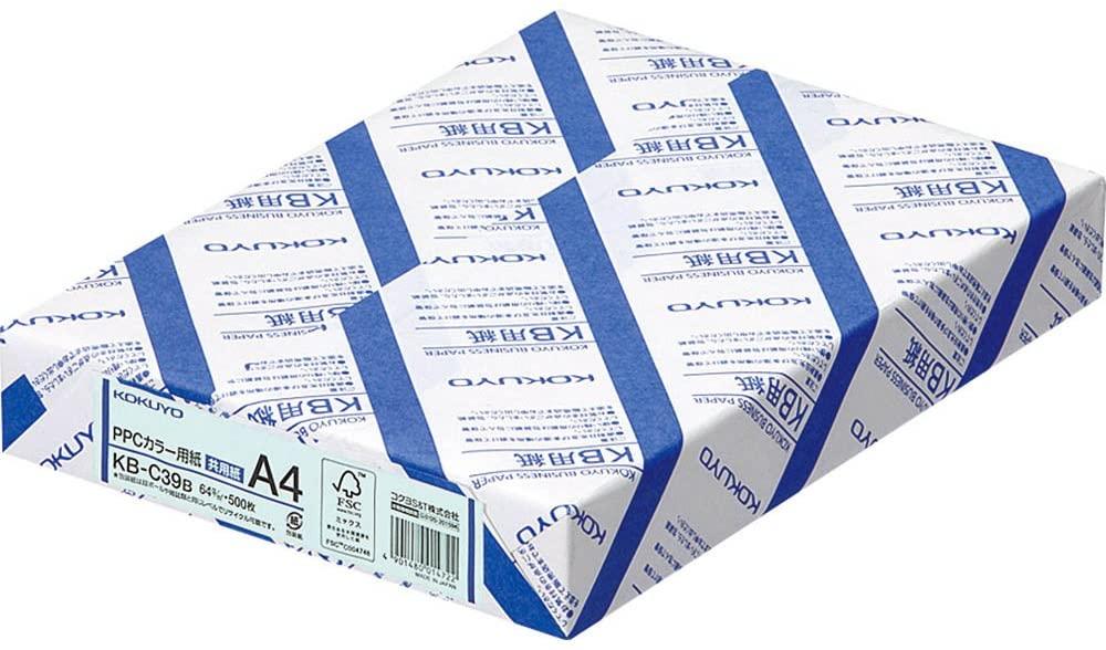 A4 500 sheets KB-C39B Kokuyo PPC color paper both FSC-certified paper blue (japan import)