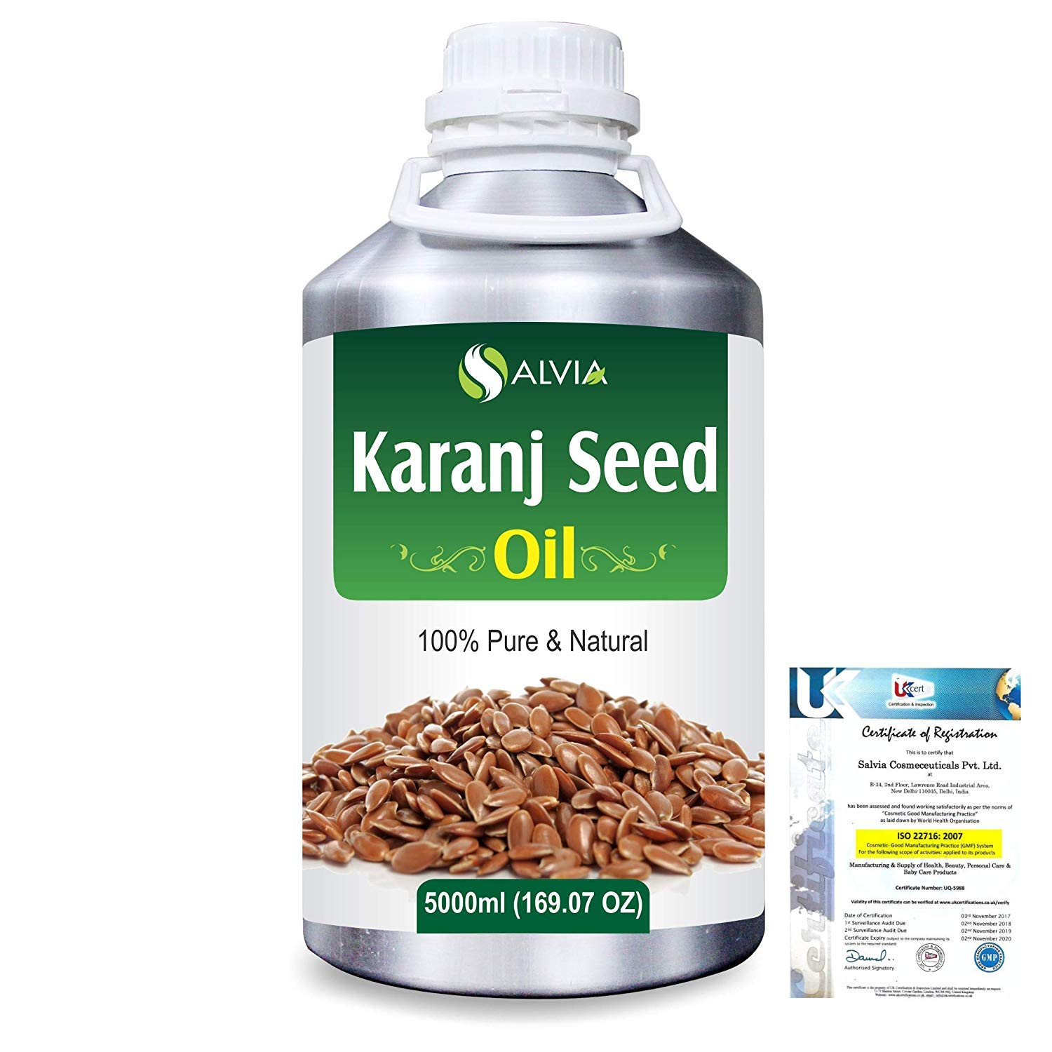 Karanj Seed (Pongamia Glabra) Pure Natural Aromatherapy Therapeutic Uncut Undiluted Carrier Oil 5000ml/169 fl. oz. Express Shipping