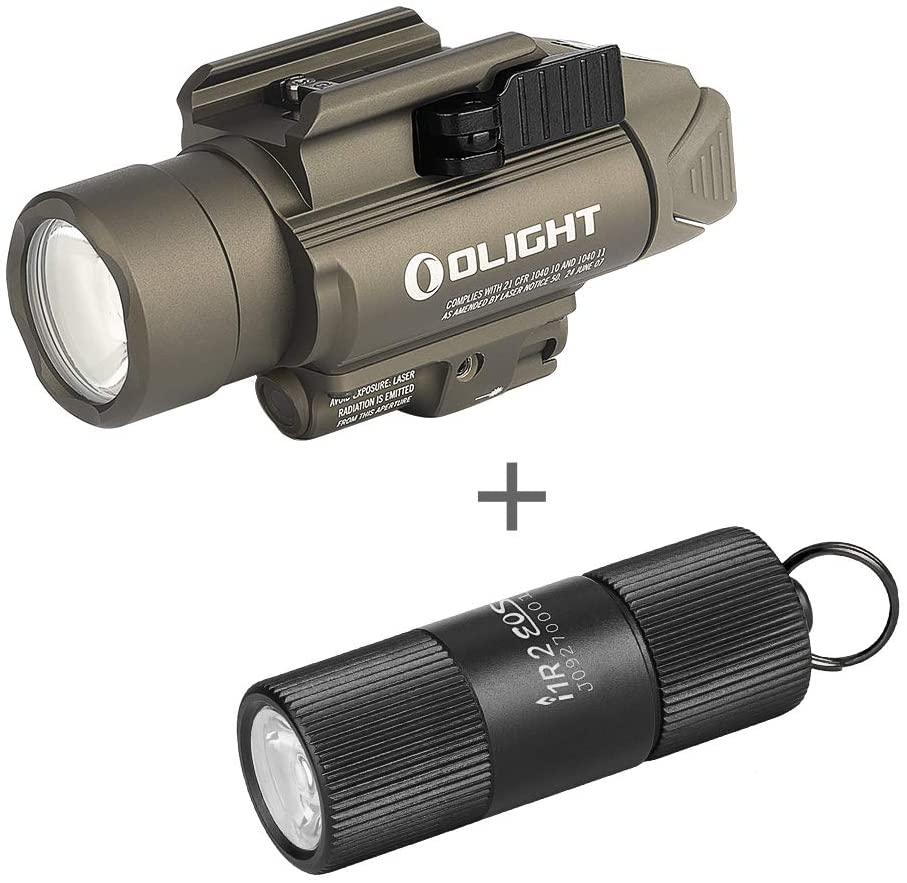 OLIGHT Baldr Pro 1350 Lumens Tactical Weaponlight with Green Light and White LED, Bundled with I1R 2 Eos 150 Lumens Tiny Rechargeable Keychain Light