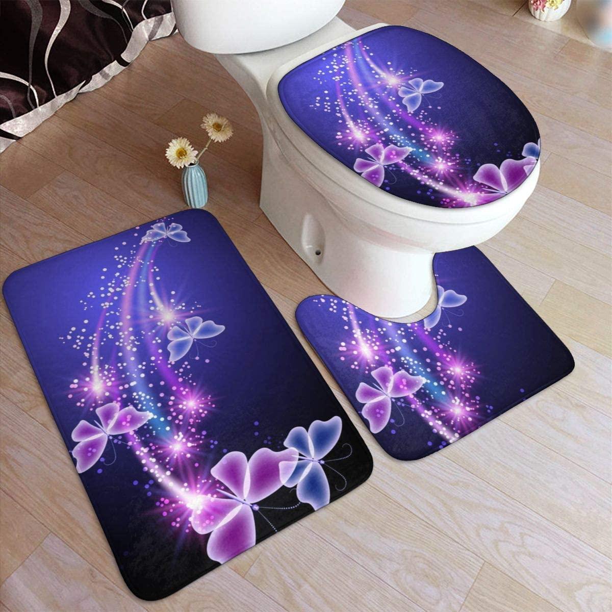 Bath Mat Sets, Butterflies,Contour Rug U-Shaped Toilet Lid Cover,Non Slip,Machine Washable,3-Piece Rug Set Easier to Dry for Bathroom