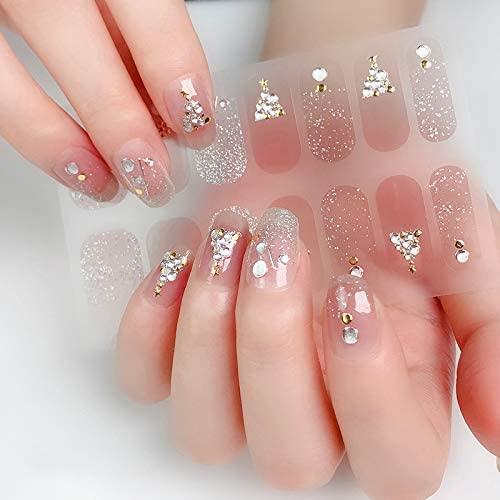BornBeauty Gel Nail Wraps Glitter 3D Raised Decoration Press On Nails Art Stickers Manicure Kits for Womens Girls Fingernails