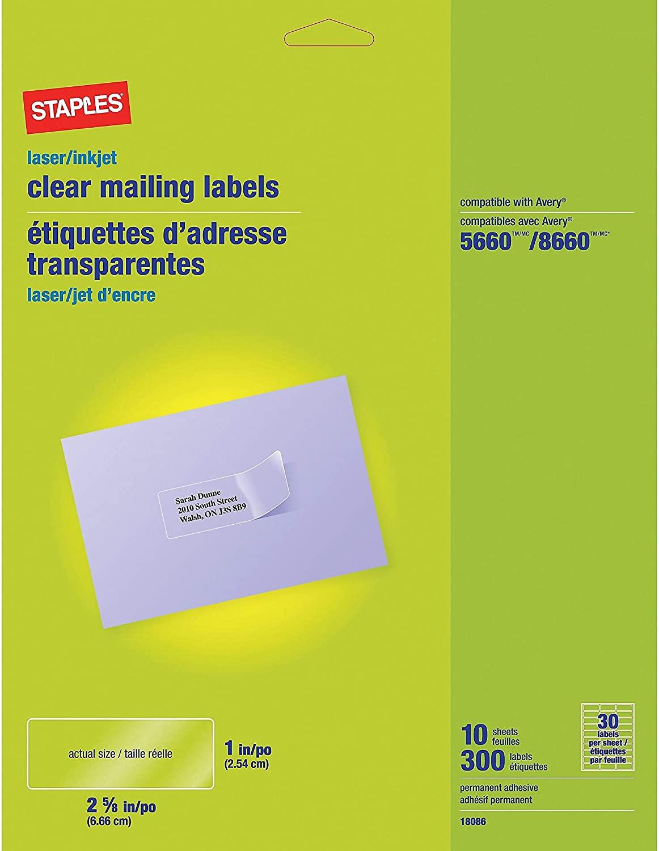 Staples Laser/Inkjet Address Labels, 1 x 2