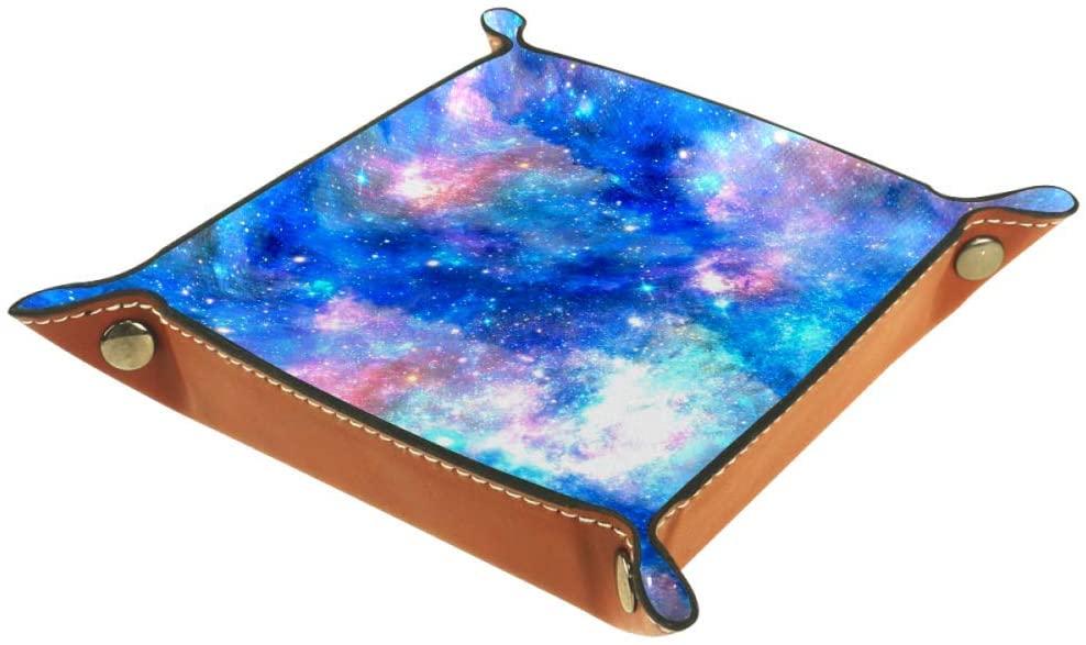 Unicorn Galaxy Night Sky Organizer Office Microfiber Leather Desk Tray Practical Storage Box for Wallets Keys and Office Equipment,16x16cm