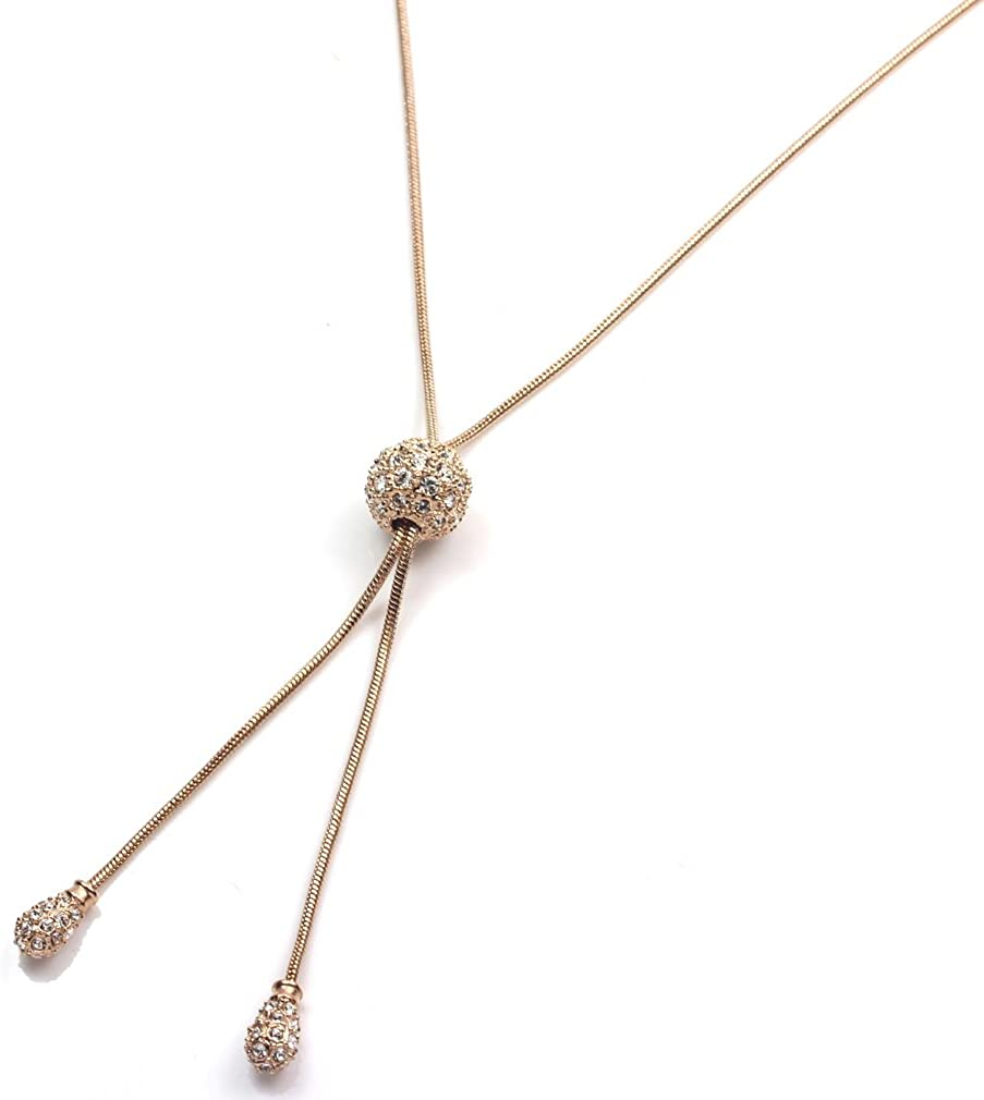FC JORY Rose & White Gold GP CZ Ball Adjustable Rope Lariat Slider Stopper Chain Y Necklace