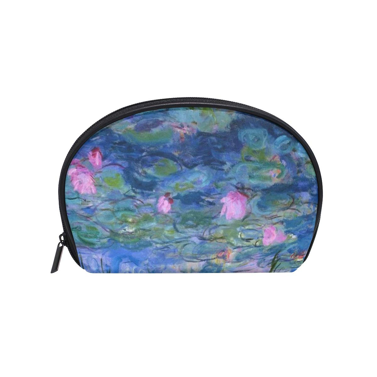 SLHFPX Makeup Organizer Monet Claude Water Lilies Oil Painting Womens Zip Toiletry Bag Large Case Cosmetic Bags