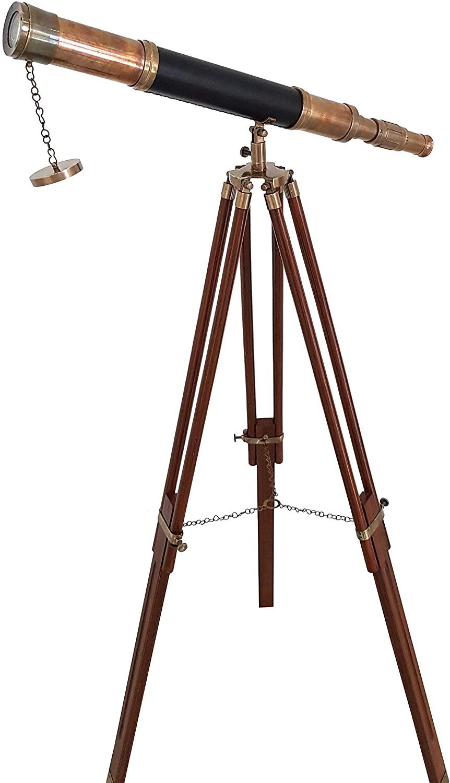 Nautical Vintage Sailor Boat Antique Telescope Black Leather Wooden Stand Marine Royal Telescopes
