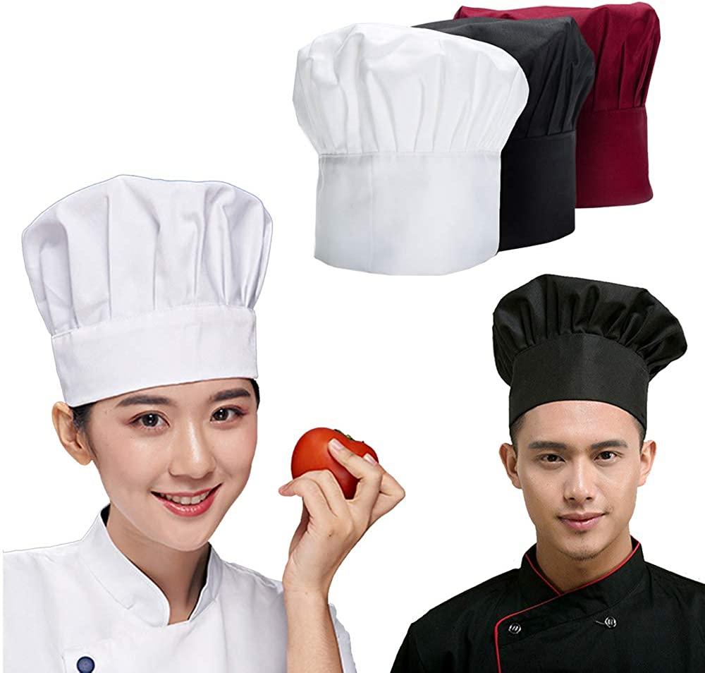 ADFS Chef Hat for Women Men, Adjustable Elastic Baker Kitchen Cook Multicolor Chef Cap