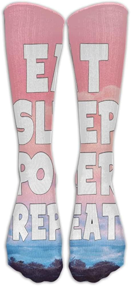 LzVong Unisex Long Socks EAT SLEEP Poker Comforable Knee High Stockings