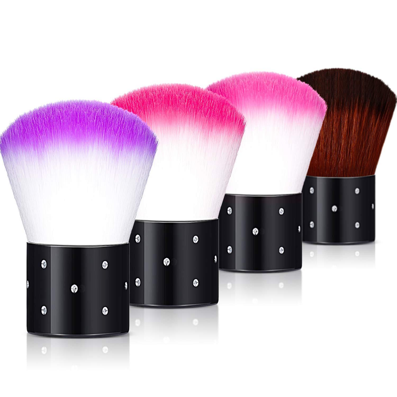 4 Pieces Nail Dust Brush Soft Nail Art Dust Remover Face Kabuki Brushes Makeup Blush Brushes Nail Art Tools, 4 Colors