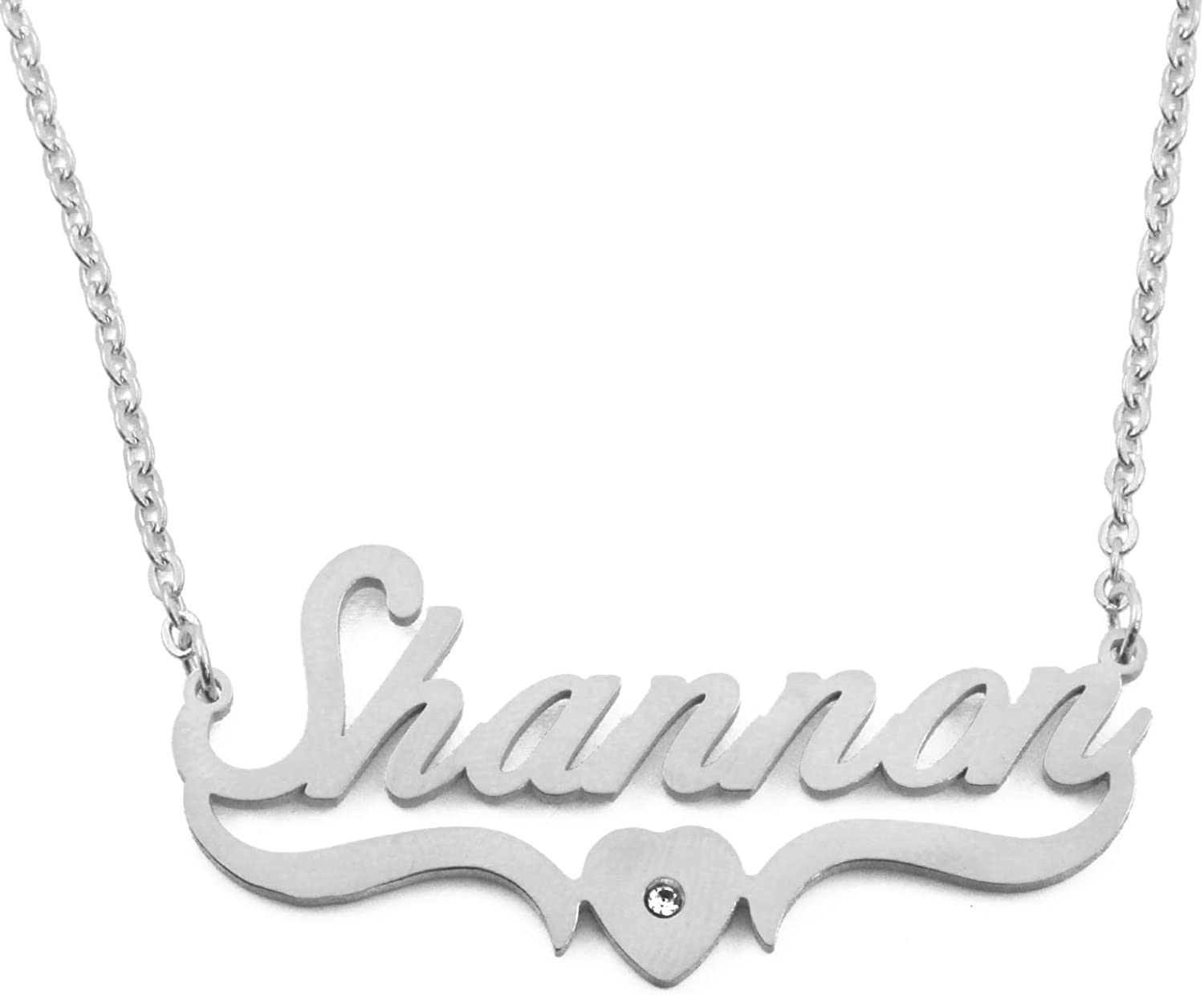 Kigu Shannon Personalized Custom Name Necklace -Silver Tone - Heart Shaped