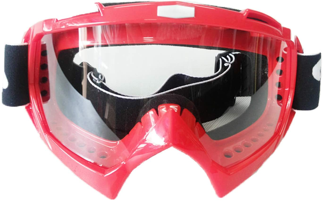 Motorcycle windproof sunscreen UV goggles off-road helmet goggles sunglasses (Red+Transparent lens)