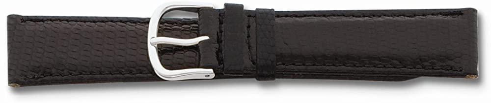 Sonia Jewels 16mm Black Genuine Lizard Silver-Tone Buckle Watch Band 7.5