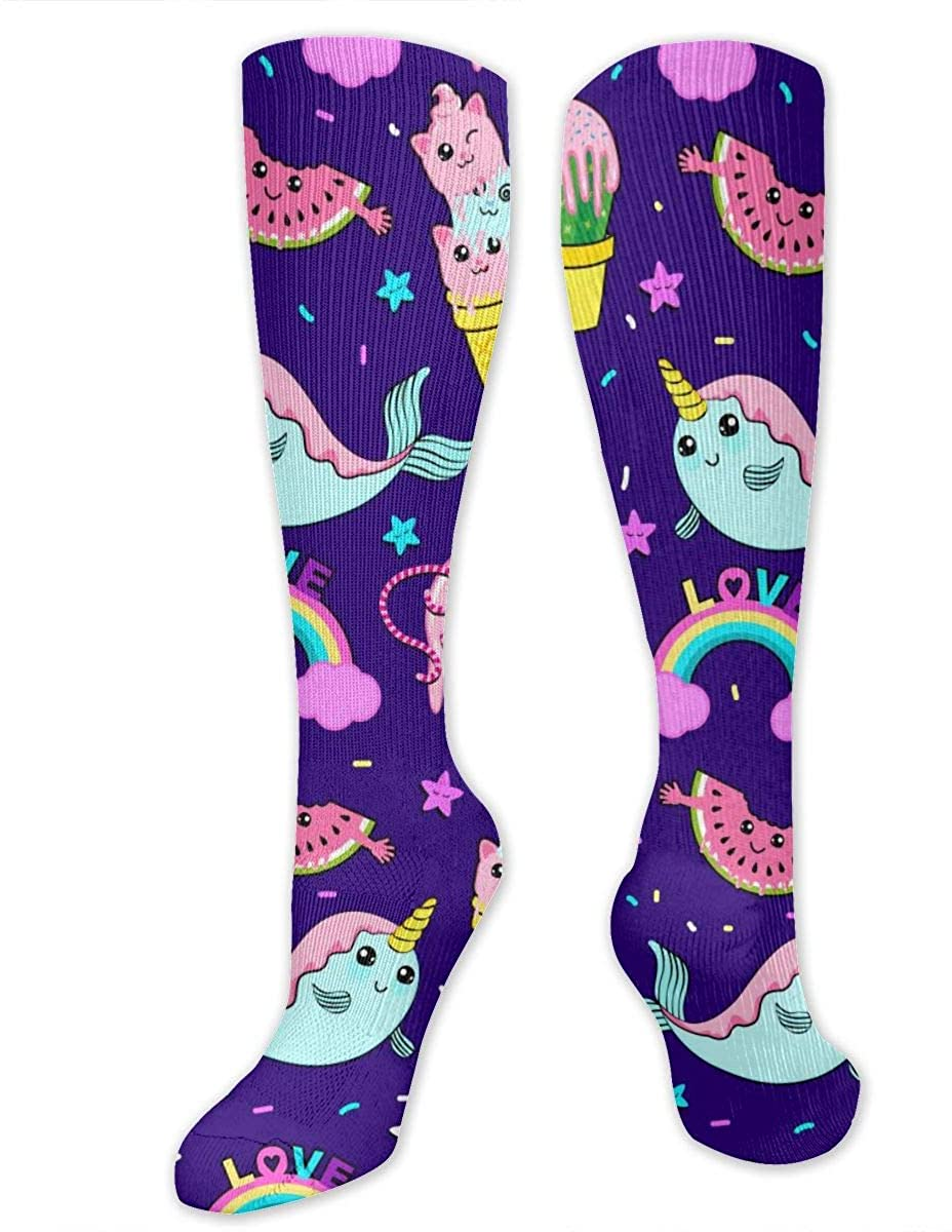 Narwhals And Ice Cream Athletic Socks Thigh Stockings Over Knee Leg High Socks