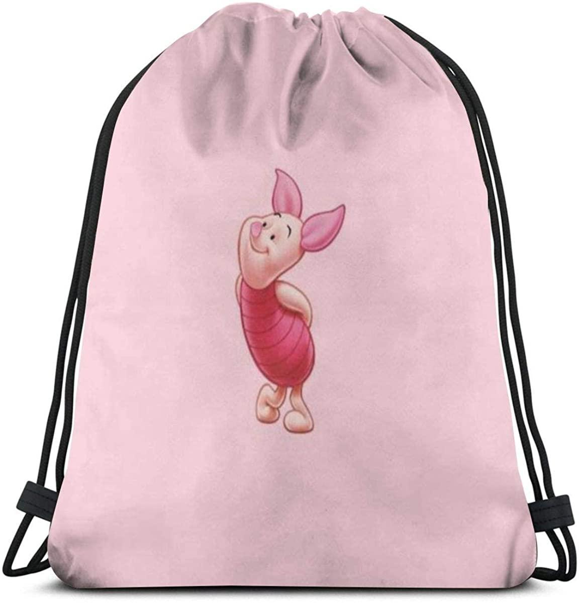 MPJTJGWZ Classic Drawstring Bag-Piglet Gym Backpack Shoulder Bags Sport Storage Bag for Man Women