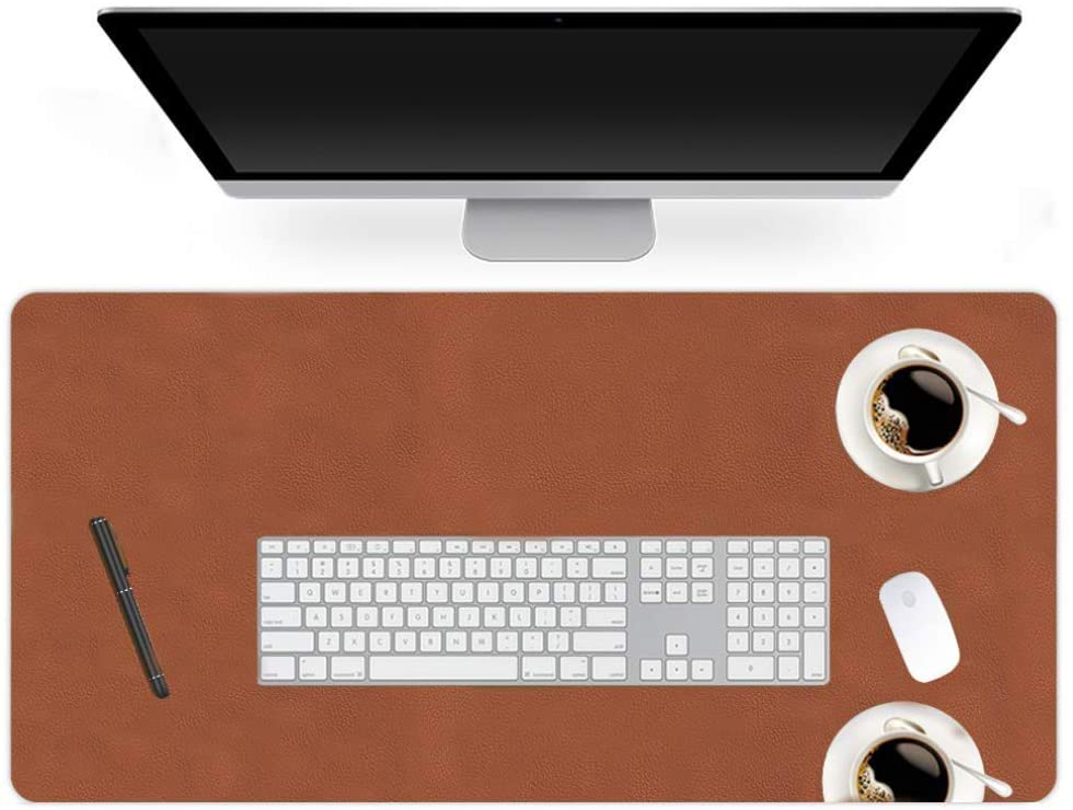 ZZFF Large Leather Desk Pad,Waterproof Not-Slip Writing Desk Protector Desk Blotter Laptop Desk Mat for Office and Home-Brown 100x50cm(39x20inch)