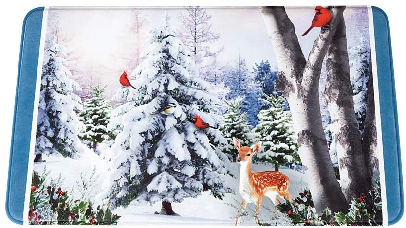 Collections Etc Majestic Winter Woodlands, Cardinals and Deer Bath Mat
