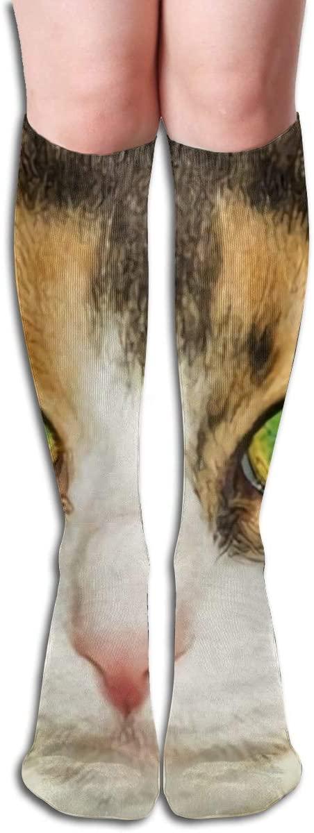 A Cat Eyes are Full of Hesitation,Design Elastic Blend Long Socks Compression Knee High Socks (50cm) for Sports