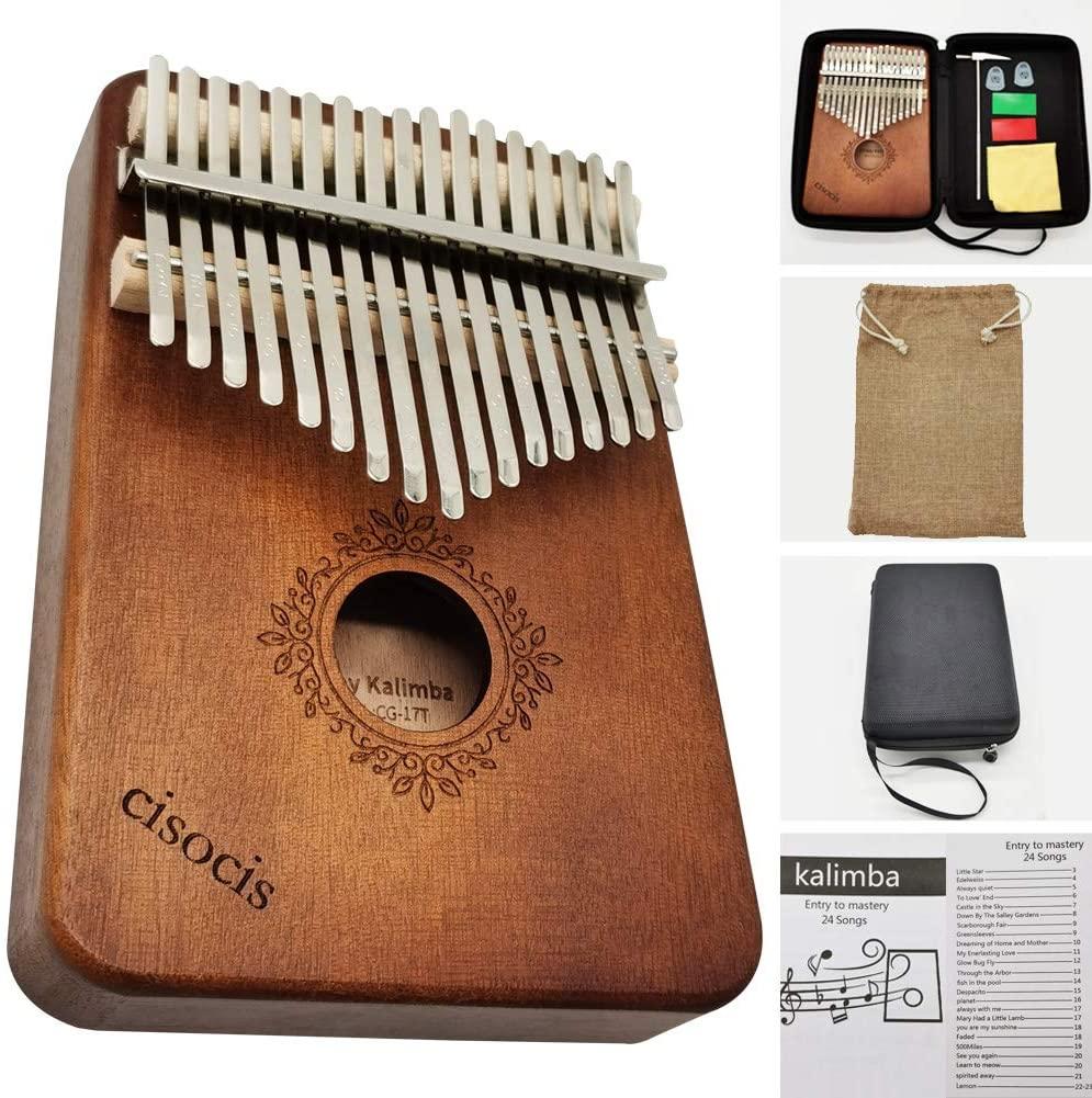 Kalimba 17 Keys Thumb Piano,with Waterproof Hard Protective Case Musical Instruments,24 Sheet Music Book