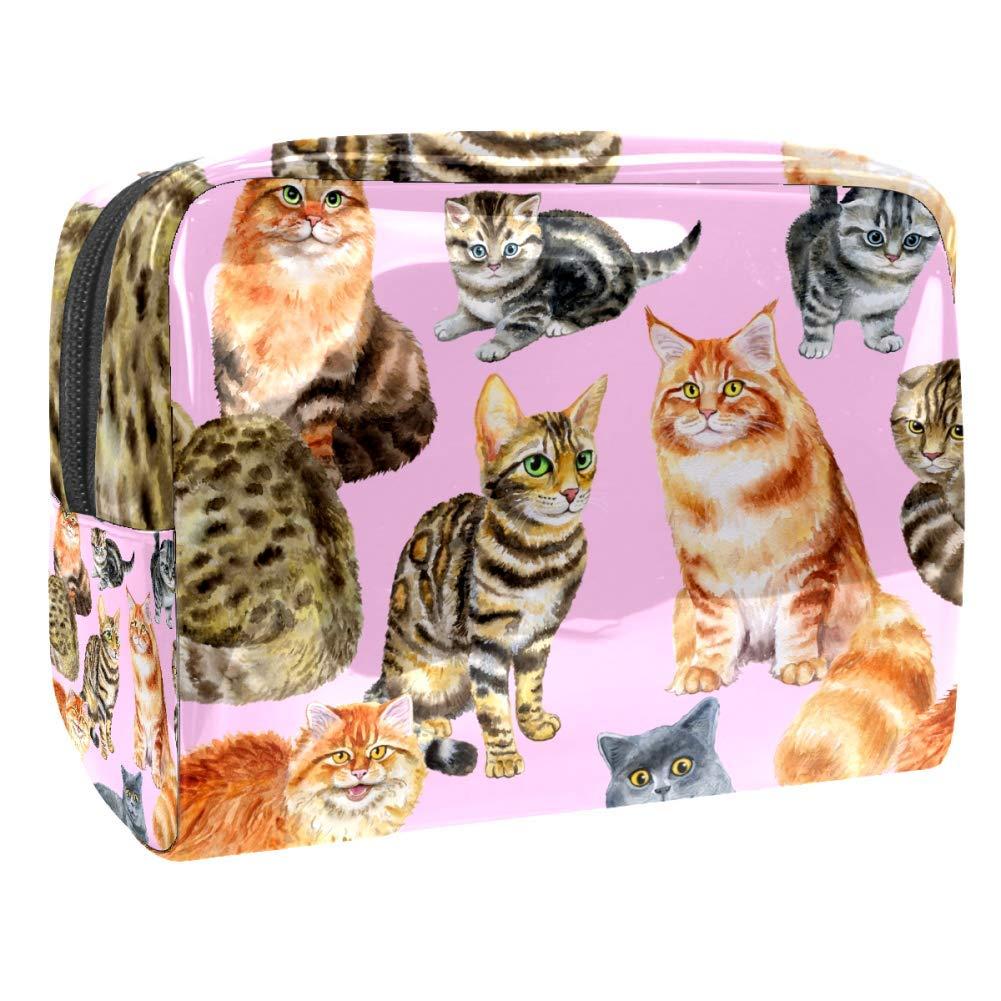 Watercolor Cute Cats British Cat Feline Makeup Bag Travel Toiletry Bag for Woman