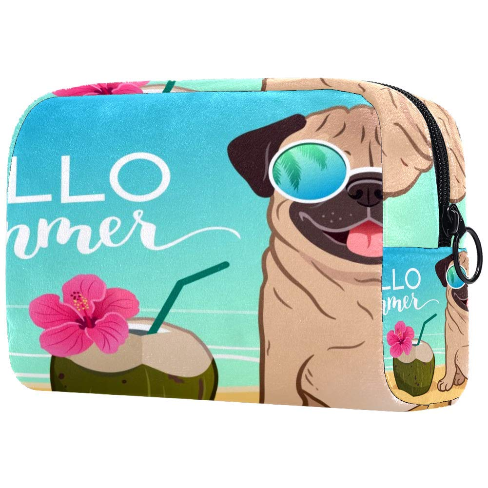 Pug Dog Sunglasses On Sandy Beach Ocean Tropical Coconut Makeup Bags Portable Tote Cosmetics Bag Travel Cosmetic Organizer Toiletry Bag Make-up Cases for Women