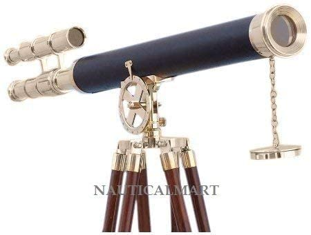 Nautical Decor Floor Standing Brass/Leather Griffith Telescope