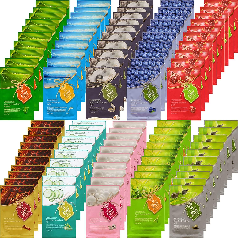 {Entel} 101 Pcs COMBO PACKAGE, Premium Korean Essence Facial Mask Sheet (10 Types x 10 pcs + 1 Extra Mask), Five Chemical Free : NO Paraben,Silicon,Mineral Oil,Artificial Colors,Ethanol
