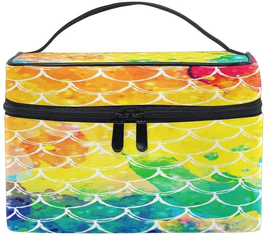 VIKKO Rainbow Fish Mermaid Scale Wave Cosmetic Bag Large Capacity Handy Toiletry Case Travel Makeup Organizer for Girls Women