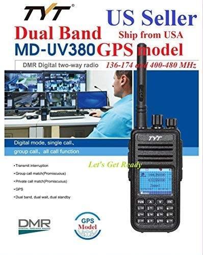 TYT MD-UV380 GPS Version Dual Band 136-174 & 400-480 MHz DMR Digital/Analog Radio