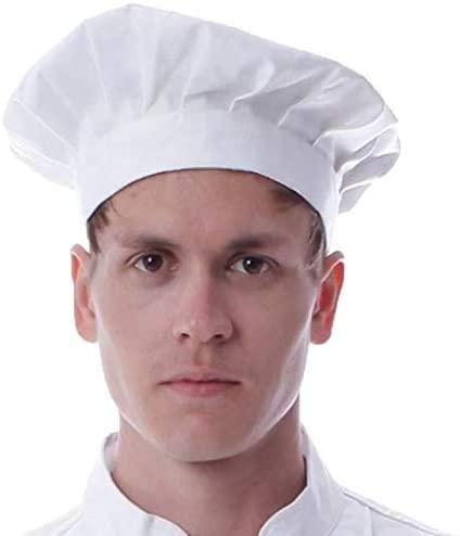 Koddon Chef Hat, Adjustable Elastic Baker Kitchen Cooking Chef Cap - White