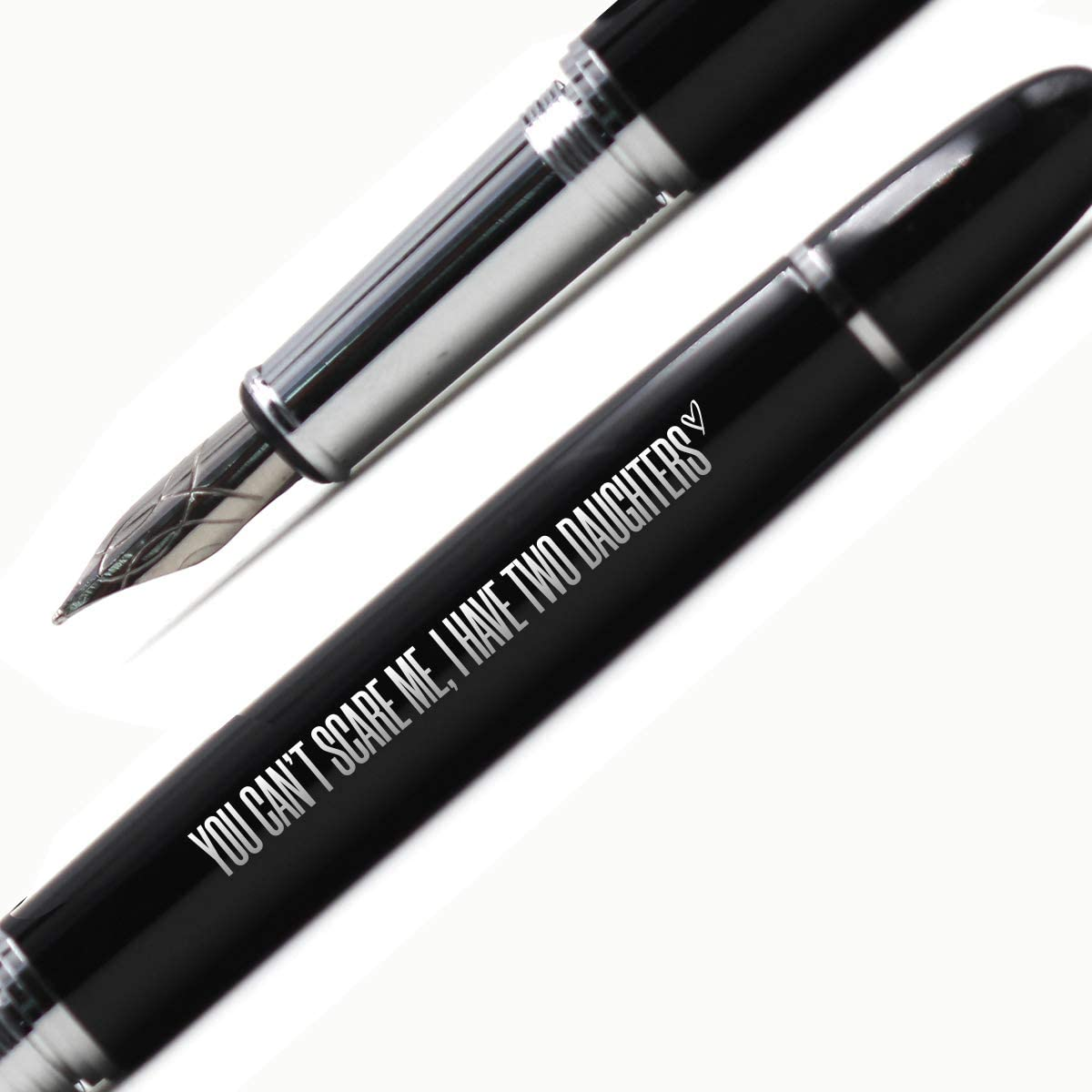 Dad Gifts from Daughter Funny Birthday Christmas Gifts for Daddy-You Can't Scare Me,I Have Two Daughters-Fountain Pen Gift[Silver]
